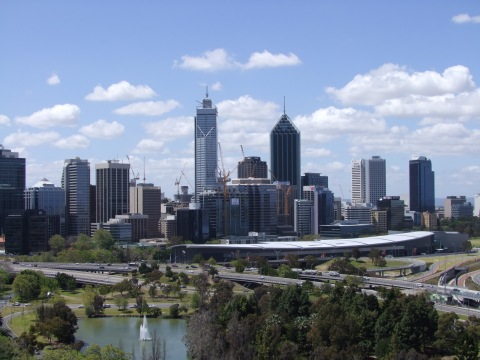 Photograph of the Perth city skyline in 2011