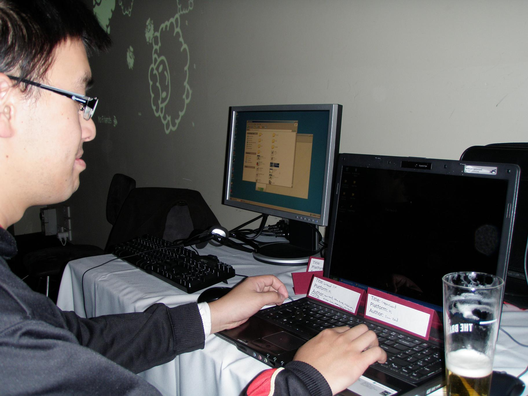 A person play testing a game.