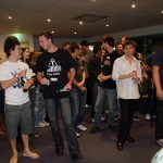 The crowd during the raffle draw (image also features Simon's hair).