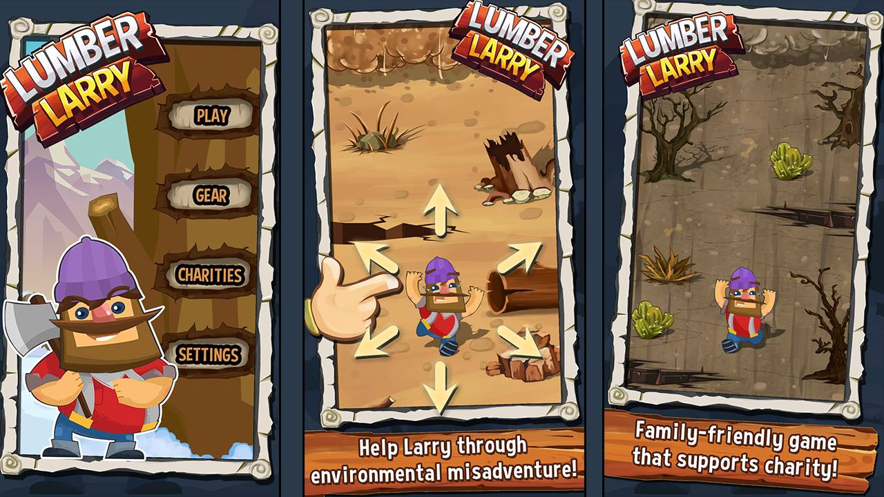 Screenshots from the Larry Lumber iOS Game