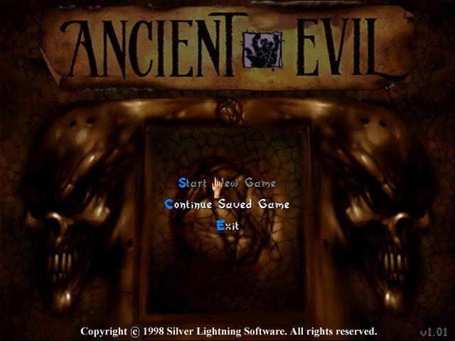 Ancient Evil Screenshot - The title screen and menu