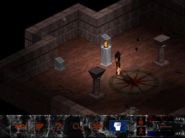 Ancient Evil Screenshot - A dark dungeon with one fire lit column