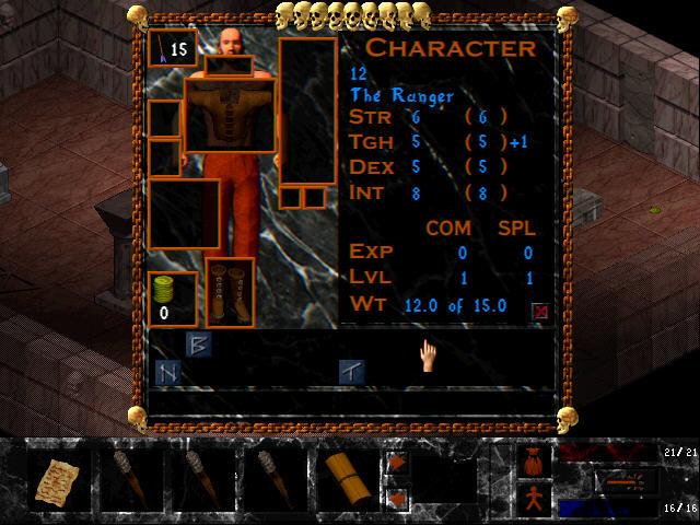 Ancient Evil Screenshot - A character management screen with statistics.