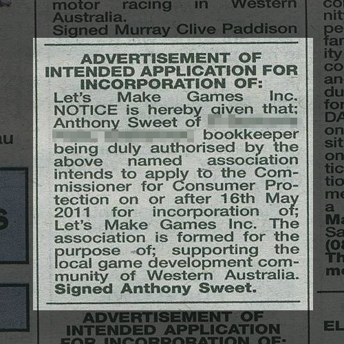 "2011 Newspaper clipping that reads ""Advertisement of intended application for incorporation of Let's Make Games Inc."