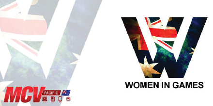 "A stylised letter ""W"" patterned with the Australian flag. Image Text reads ""MCV Pacific Women in Games"""