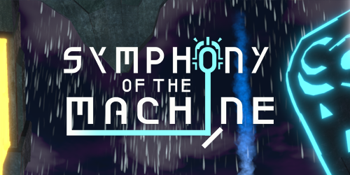 "Logo: ""Symphony of the Machine"", stylized to represent a laser beam being bounced onto a symbol. The background of the image is screenshot from the game: in it the sky is dark and cloudy, while rain falls outside of futuristic metal window. Symbols sit on the left and right side of the window radiating light, and blue smoke rises on the right outside the window."