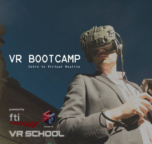 "Text ""VR Bootcamp: Intro to Virtual Reality. Presented by FTI, Frame VR, VR School"" Image: (A man in a suit wears a virtual reality headset, with the VR controls in hand)"