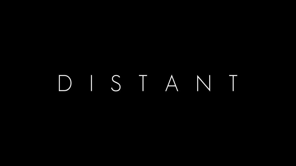 "Text Logo reads ""Distant"", in all capitals on black background.  URL link goes to game facbook page."