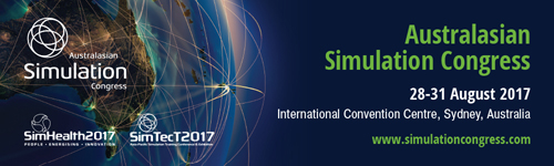 "Image Text Reads ""Australasian Simulation Congress. 28-31 August 2017. International Convention Centre, Sydney, Australia. www.simulationcongress.com"" Sponsor logo ""SimHealth2017"" and ""SimTec2017"". URL link goes to Australiasian Simulation Congress Challenge page"