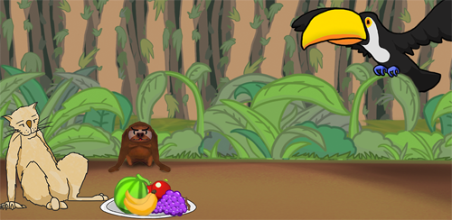 URL links to webpage for Sloth Climb game. Image features a jungle scene, with dirt floor edged by trees and foliage. On the left, a jungle cat sits on its hing legs leaning back. In front of it sits a large plate of fruits. Behind the fruit sits a sloth, facing forward, it's arms stretched towards the food.  On the top right, a toucan sits on a branch with wings outstretched.