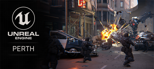 Text reads: Unreal Engine PERTH. The right side of the image is rendered in Unreal game engine. It depicts an action scene from a video game, futuristic solders hide with guns drawn behind cars. In the distance, a robot is has thrown a car which is exploding.