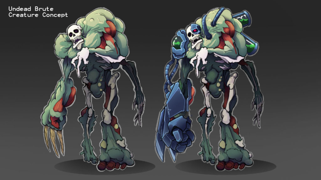 Text reads: Undead Brute, Creature Concept. Image of two zombie variations from upcoming Binary Space game. They have skeleton faces and bones visible, with large malformed shoulders, right claw arm, and left foot. The zombie on the right includes a robotic right arm, powercells on it's back and a metal left eye socket with laser eye.