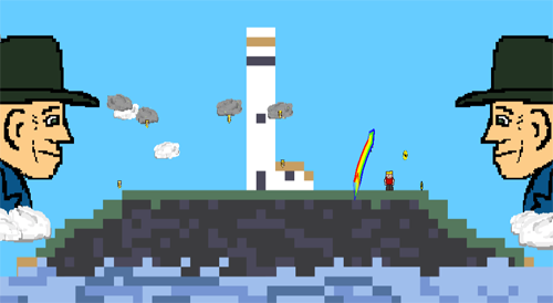 A blocky, pixel art image of an rocky island with a thin layer of grass. Water laps at the edges and a white lighthouse sits in the centre. Either side of the island are the heads of two large Leprechaun figures, clouds float from them towards the island.