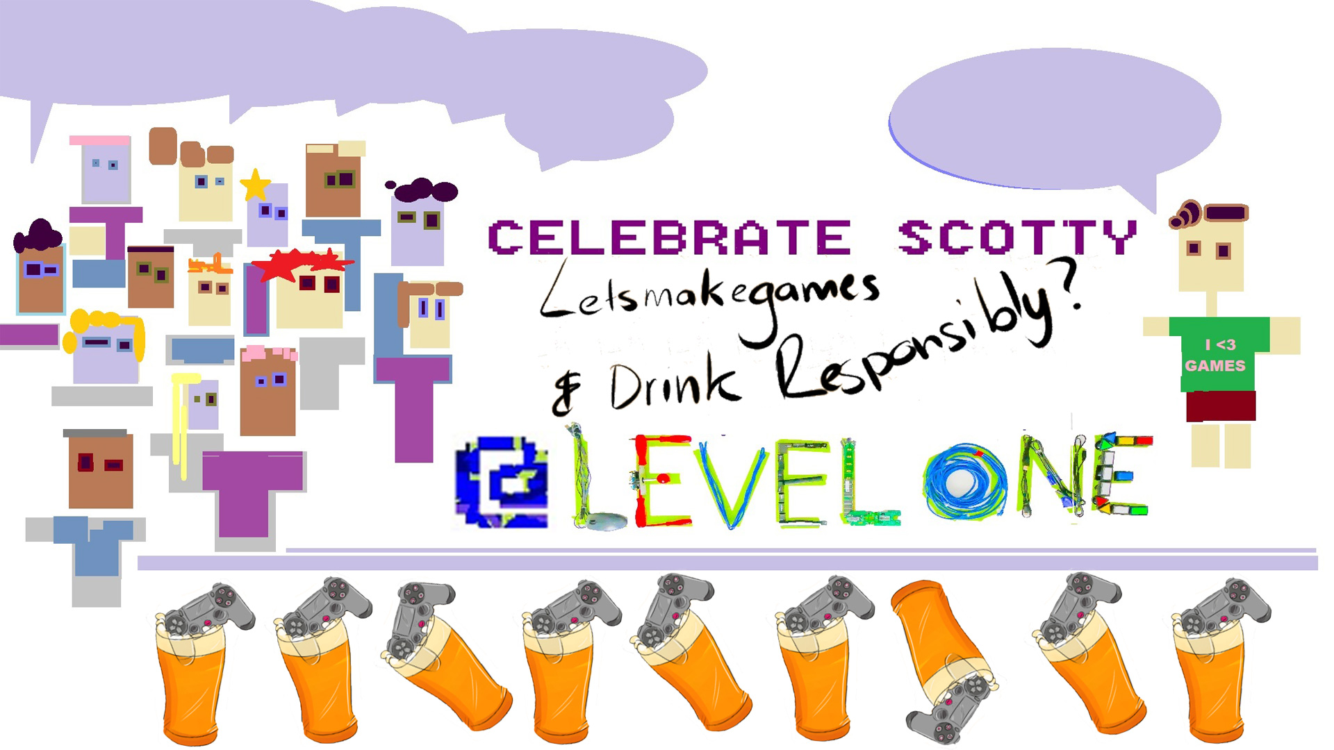 "A cartoon image of a crowd standing in front of Scot Ludlam, who is wearing a green shirt that says ""I heart games"". In the foreground is a border of game controllers and beers. Text reads ""Celebrate Scotty. Lets Make Games & Drink Responsibly? @ Level One"". Url links to the relevant facebook event page."