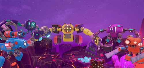 A screenshot from the game Collateral Damage. URL links to game's website. Image shows five robotic characters crowded together, hovering in a semicircle. All are different shapes and colours, and have various arm-like weapons. In the background, a purple starry night sky sits above a rocky, planet scene. Lava-like lines cross the craters, and pointed crystals jut out.