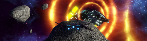 A screenshot from the game Asteroid3D. A spaceship is flying straight ahead, an asteroid sits directly in its path while other float in the distance. Further ahead, a much larger spacecraft hovers, with huge rings of energy emanating from it. Image URL links to main Asteroids3D game website.