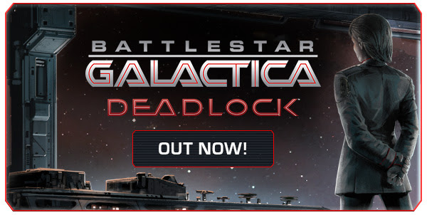 Image text: Battlestar Galactica Deadlock, OUT NOW! Image description: A woman dressed in military uniform stands holding her arms behind her back, looking out a futuristic metal viewing port into space. URL links to related Steam game page.