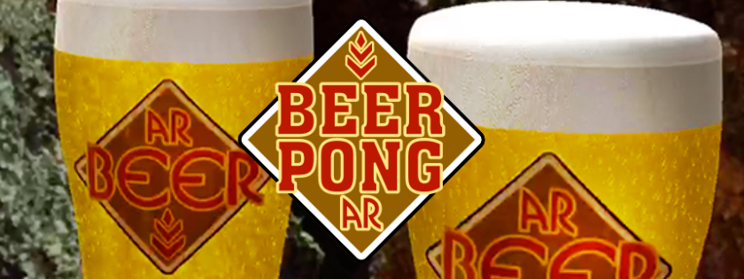 "Header: Text reads ""Beer Pong AR"" with two 3D pints of beer behind it."