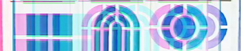 A distorted image of a series of differently-shaped windows, a square, an arch and a circle