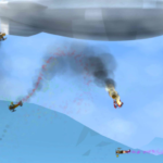 Screenshot: Olden style biplanes loop around the sky, with plumes of smoke and fire billowing behind some of them. An enormous blip covers the entire top of the screen.