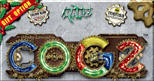 "Logo: COGZ. A Christmas ribbon, bordered by holly, sits on the top left edge, with the text ""Gift Option"". 3 Smaller logos across the top read ""Color-blind accessible,"" ""RAEZ"" and ""Mensa Endorsed"". URL links to the boardgame's online store."