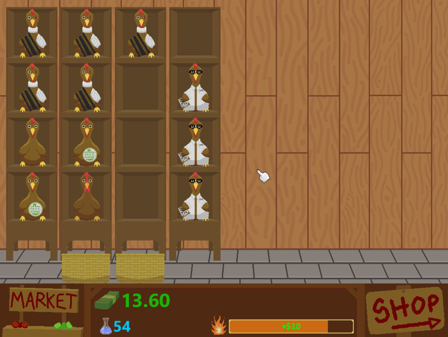 Screenshot: Inside of a wooden barn, with stacked shelves filled with various themed chickens, including scientist chickens, free range chickens, tire-marked chickens. Icons at the bottom show a Market sign, Shop sign, money, and other stats.