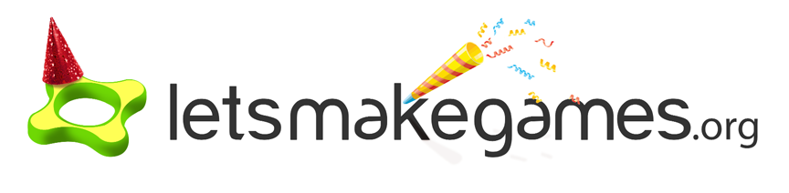 The Let's Make Games logo, featuring a party hat and party horn. Image links to facebook page for Let's Make Games end of year party.