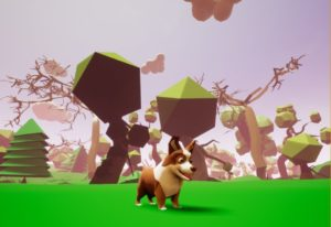 Screenshot: A corgi stands in the centre of a green field, surrounded by boxy trees.