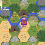 Screenshot: A board of interlocking hexagonal shapes that create a map with sand, grassed areas, mountains, rocks and forests. In the centre stands a merchant character, and a blue barrier seperate him from highlighted mountain on the upper left.