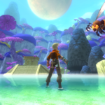 Screenshot: A man in futuristic adventurer gear stands ankle-deep in a bright lake, surrounded by alien-like landscape of trees and ruins rising from the water. An enourmous wasp-like creature is flying towards him in from the left side.