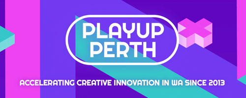 "PlayUp Perth Logo, with text ""Accelerating creative innovation in WA since 2013"". URL links to PlayUp Perth Website."