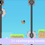 "Screenshot for the game Rodrigo. Text at bottom reads ""21 Challenging levels to play"". Image shows a blocky squirrel wearing a top hat and tie leaps across platforms and over whirling saws."