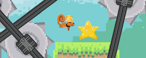 Screenshot: A blocky scene with a squirrel jumping over a whirling, swinging saw towards a large collectable star. The squirrel is wearing a tall hat and work-tie. URL links to Rodrigo game on Google Play