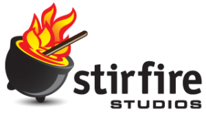 Logo: Stirfire Studios. Url links to Stirfire main website.