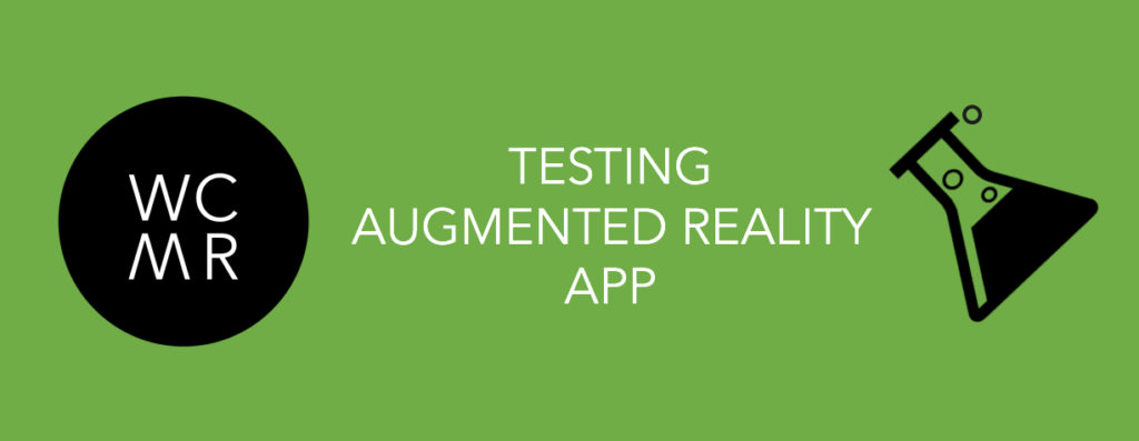 Header text: Testing Augmented Reality App. On the right, the logo for West Coast Mixed Reality, on the left an icon of a scientific beaker with liquid.