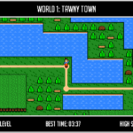 Screenshot: A brightly coloured world-map overview, in the pixelated style of early Mario games.