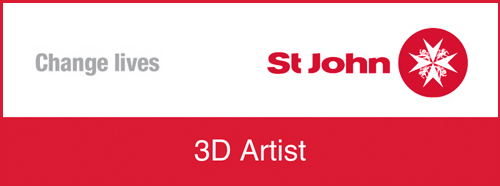 "Main Title: ""3D Artist"". Top right, St John Ambulance logo. Top left, text ""Change Lives""."