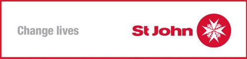 "Top right, St John Ambulance logo. Top left, text ""Change Lives""."