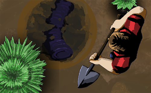 A top-down game screenshot, a man holds a shovel and stands over a hole in the dirt with a rolled up carpet in it.