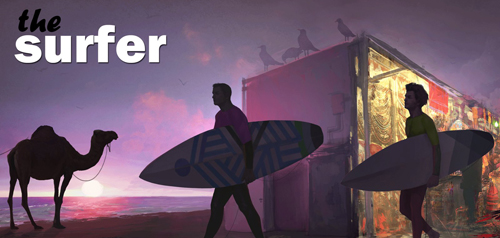 Header Image for The Surfer. The sun set over the ocean, as two surfers carry their boards walk past. A small shack covered in seagulls, and a camel are shadows in the background.