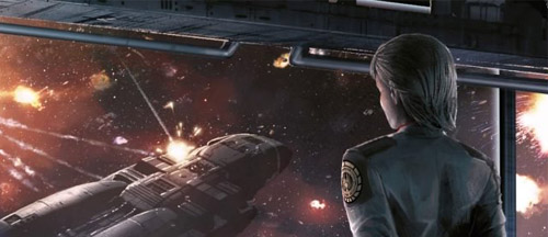 A military commander looks out the window of a space vessel, watching as a smaller craft explodes