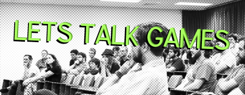 "A room of people sitting, listening to a talk. Over it, the text reads ""Let's Talk Games"". URL links to eventbrite ticket page for next talk."