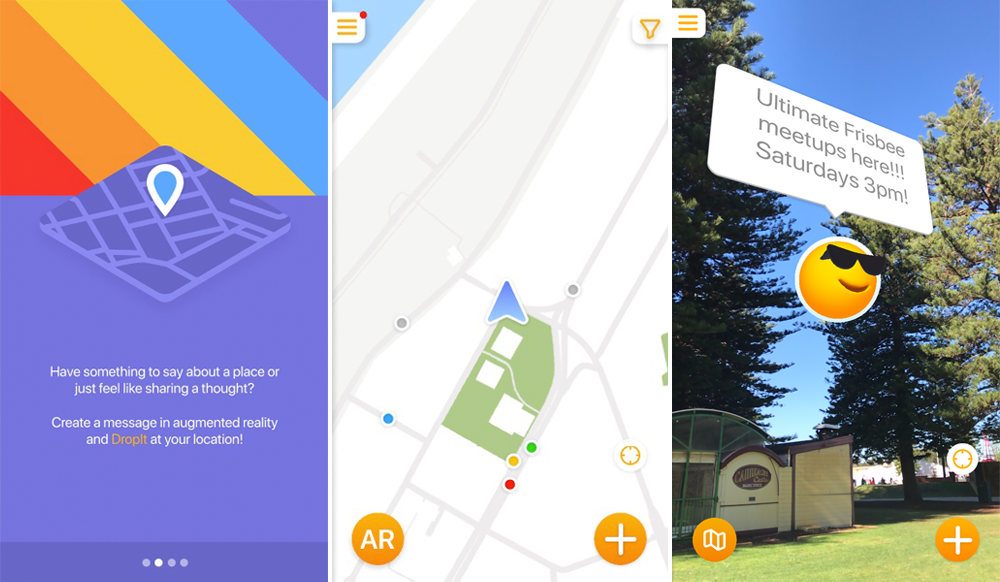 Screenshots from the augmented reality app dropit, featuring an introductory page, a map, and a demonstration of how an emoji icon and speech bubble can be placed over a camera view from a phone.
