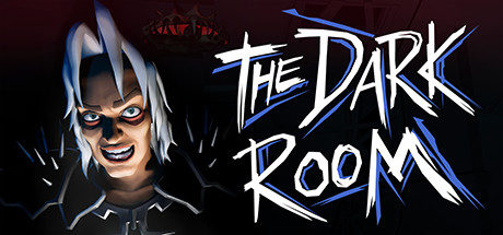 Scratched Text reads: The Dark Room. On the left, what appears to be a young white-haired man leans in closely and stares as you, with a wide evil grin, intense eyes and a raised brow. On his shoulders sit dark layered armour covered in spikes, and in the distance an eerie yet unrecognisable glowing object.