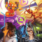 Primary Text reads WA Games Passport, and Let's Make Games Logo. Poster featuring characters fighting, a Robot with blades for hands, a giant ant, a grimacing white-haired man with spikey shoulder pauldron, and a Black woman with a spiked baseball bat.
