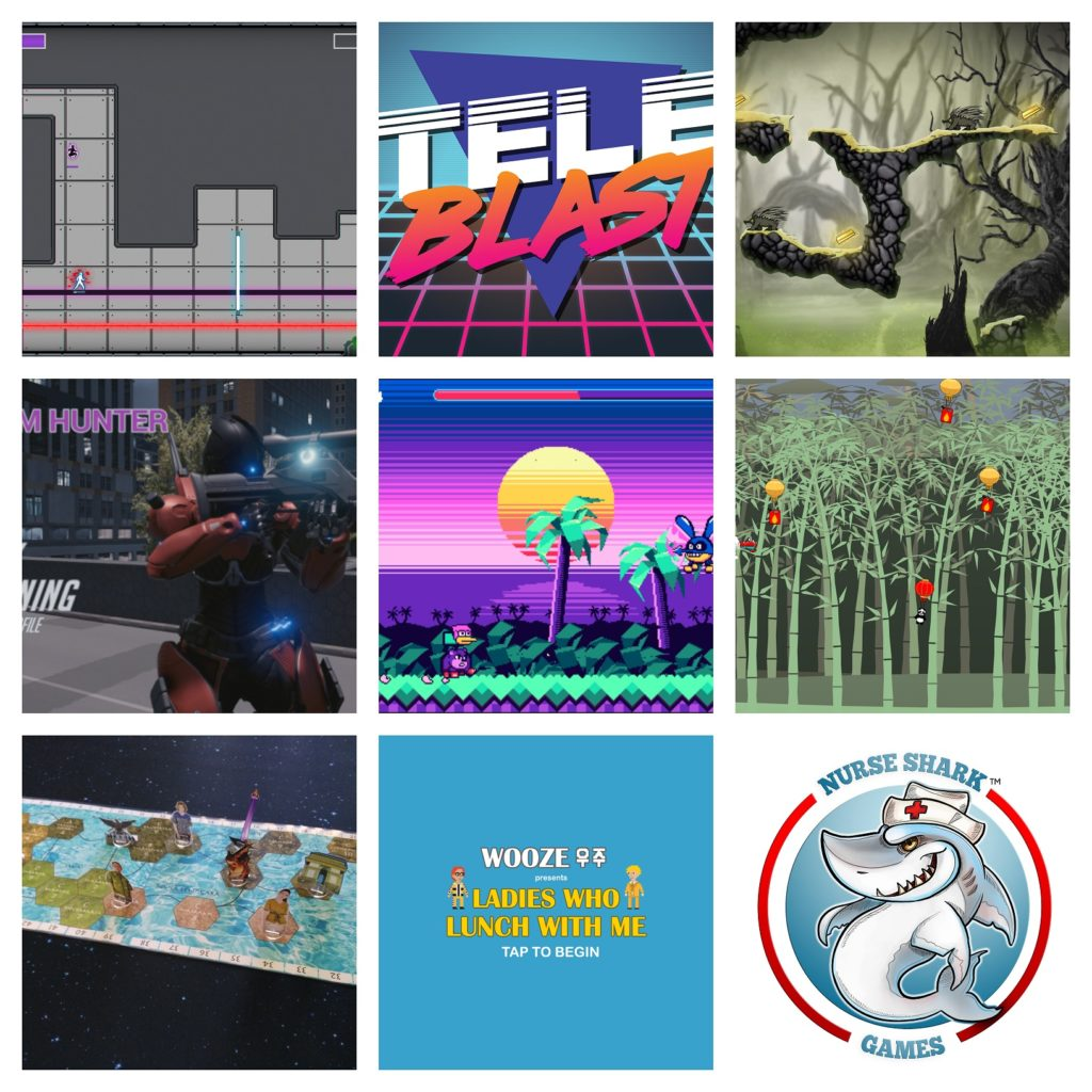 Thumbnail images from games and studious showcasing at Playup Perth. From left to right, top to bottom these are: Project:Singularity, TeleBlast, Ned, Rhythm Hunter, Bongo Cowbellie, Panda Pilots, Monumental Indonesia, WOOZE – Ladies Who Lunch With Me, and Nurse Shark Games. URL links to Playup Perth event page.