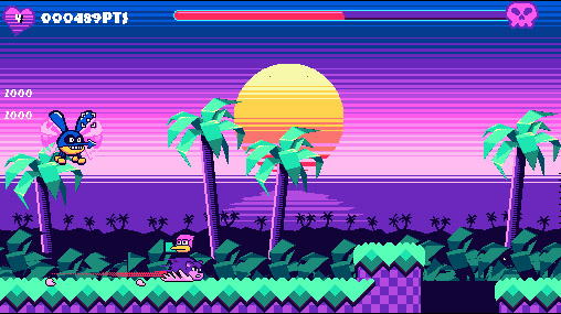 A retro styled scene with an orange/yellow sun against a purple/pink sky. Two palm trees sit in front of the large sun, as a bird chaaracter sits on the back of a dashing bear, and looks back at a menacing giant bug boss flying behind them. URL links to Playup Perth event page