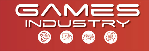 Text reads Games Industries. Four Icons below it represent a virtual reality headset, two hands holding and touching a phone screen, two hands holding a gaming controller, and the side profile of a head containing a stylised circuitboard or brain-like outline of Western Australian.