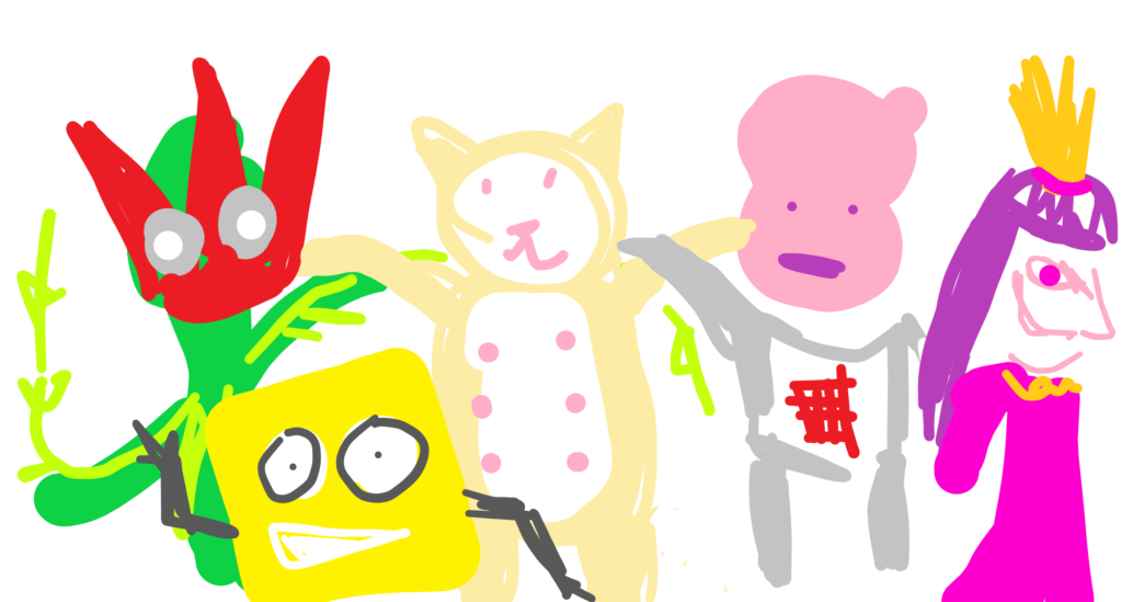 A crude and childlike fan art drawing of a selection of Perth games, from left to right: A red flower person from Bramblelash, a smiling waving yellow cube from Square Heroes, a cat with stomach exposed from Catnips, a blobby headed mutant from Paradigm, and an angry girl all in pink wearing a crown from Freedom Fall.