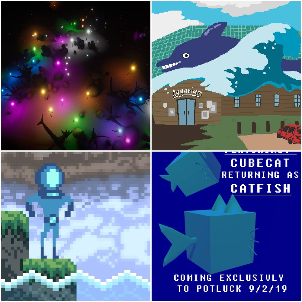 "Four game screenshots, 1 A dark underwater scene peppered with colourful glowing lights and dark outlines of rocks and seaweed. 2 A car sits parked outside an Aquarium building. On the building sits an enormous smiling dolphin on a wave. 3 A blocky submariner poses dramatically with chest puffed out and arms back, while standing in full diver gear and enclosed helmet on a cliff next water. 4 Text reads a ""Cube cat returns as Catfish. Coming Exclusively to Potluck 9/2/19."" Behind the text float two cubes, eat sporting triangle ears atop, a pointed fish tail, and whiskers."